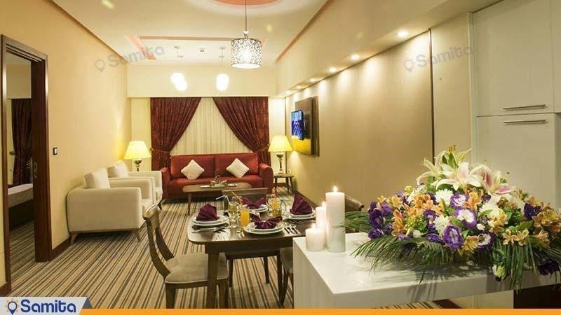 آپارتمان یک خوابه با نمای حرم هتل آپارتمان امید