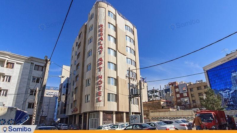 نمای ساختمان هتل آپارتمان رسالت