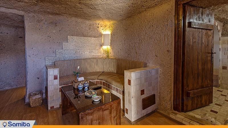 غرفة المعيشة فندق دولي صخري لاله
